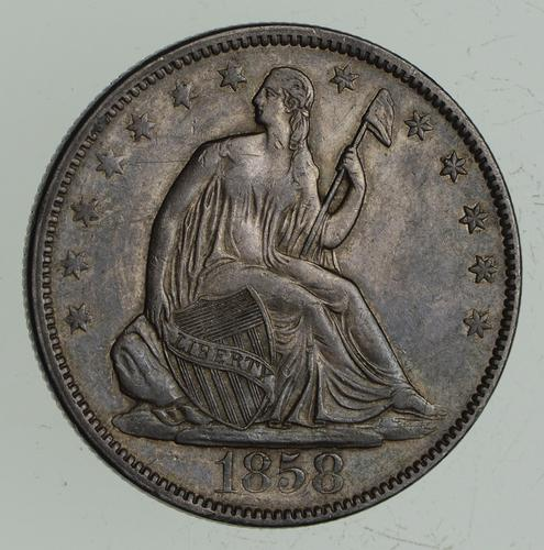 1858 Seated Liberty Half Dollar - Choice
