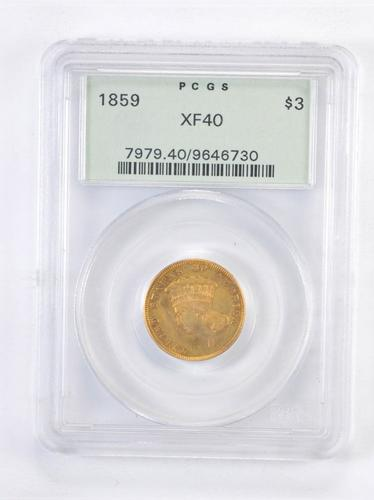 XF40 1859 $3.00 Indian Princess Head Gold Piece - OGH PCGS Upgrade?