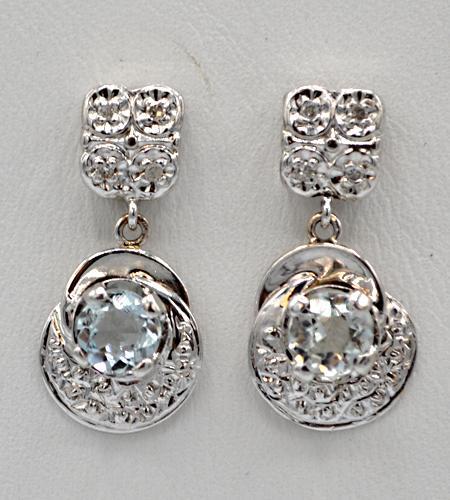 14kt Gold Aquamarine & Diamond Earrings