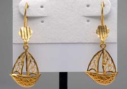 22KT Filigree Sailboat Dangle Earrings