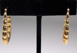 Funky Twisted Elongated Hoop Earrings in Gold
