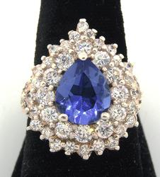 Immense Blue & White Crystal Sterling Silver Ring