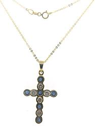 Diamond and Sapphire Bezel Set Cross Necklace
