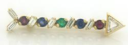 Luxurious Trillion Diamond Arrow Pendant Pin