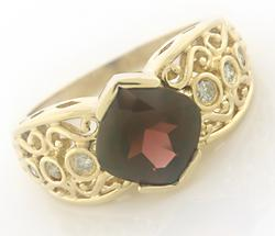Classic Garnet and Diamond Ring