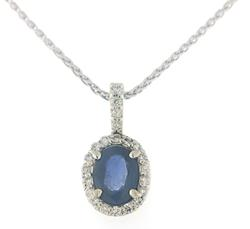 Oval Sapphire and Diamond Halo Necklace