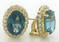Absolutely Gorgeous Blue Topaz and Diamond Earrings