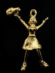 Solid 14KT Yellow Gold Cheerleader Pendant