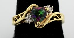 Heart Shape Mystic Topaz Ring in Gold