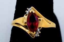 Yellow Gold Ring with Red Stone