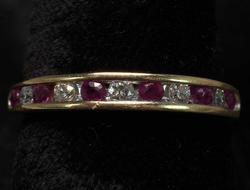 Ruby & Diamond Band Ring in 14KT Yellow Gold
