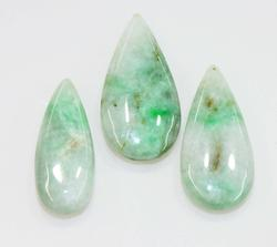 Natural Jadeite Teardrops - Set of 3