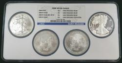 Certified 2008 4pc Silver Eagle Set NGC MS69