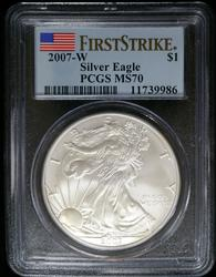 Certified 2007-W Silver Eagle PCGS MS70