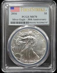 Certified 2016 Silver Eagle PCGS MS70