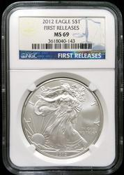 Certified 2012 Silver Eagle NGC MS69