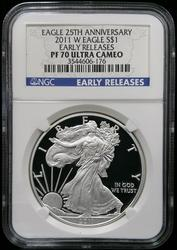 Certified 2011 Proof Silver Eagle  NGC PF70