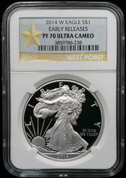 Certified 2014 Proof Silver Eagle  NGC PF70