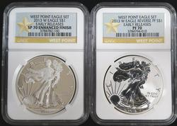 Certified 2013 W Proof Silver Eagle Set NGC PF70