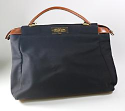 Fendi Peekaboo Black Canvas Purse