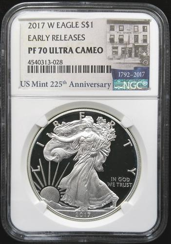 Certified 2017 Proof Silver Eagle  NGC PF70