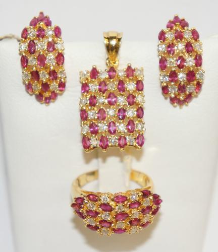 14kt Gold Ruby & Diamond Jewelry Set!