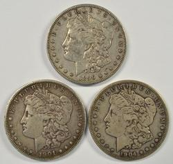 Sharp 1899-S, 1901-S, & 1904-S Morgan Silver Dollars