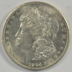 Lustrous tope end 1904-P Morgan Silver Dollar