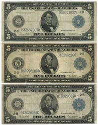 3 Series of 1914 Large Size $5 Federal Reserve Notes