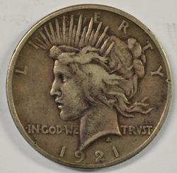 Sharp key date 1921 Peace Silver Dollar
