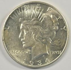 Blazing nearly BU 1934-D Peace Silver Dollar. Scarce