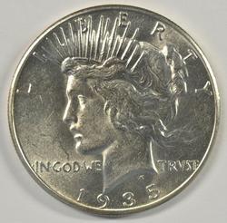 Flashy virtual BU 1935-P Peace Silver Dollar. Nice