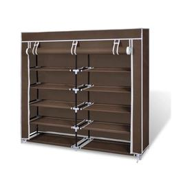 Fabric Shoe Cabinet with Cover 45 x 11 x 43 in Brown
