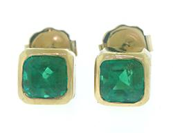 Simple 18kt Bezel Set Emerald Earrings
