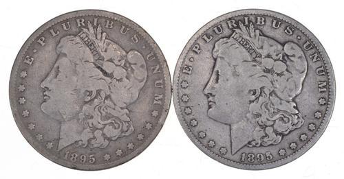 Lot (2) 1895-O Morgan Silver Dollars
