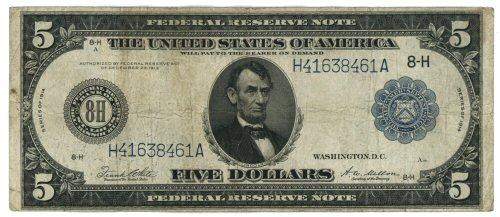 1914 Series Large Size $5 Federal Reserve Note (8-H)