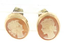Yellow Gold Cameo Stud Earrings