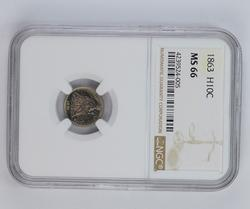 MS66 1863 Seated Liberty Half Dime - NGC Graded
