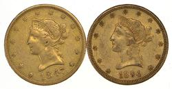Lot (2) 1847-O & 1894-O $10.00 Liberty Head Gold Eagles