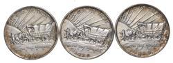 (3) 1938-P/D/S Oregon Trail Commemorative Half Dollars - All 3 Mints!
