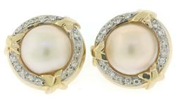Elegant Mabe Pearl Earrings with Diamond Halo