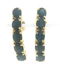 Nice Blue Sapphire Half Hoop Earrings