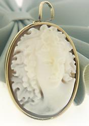 Carved Shell Cameo Pin Pendant