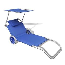 Sunlounger Foldable with Canopy and Wheels Aluminum