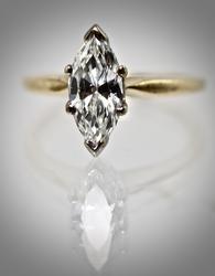 Classic 14K Marquise Diamond Engagement Ring