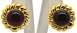 LADIES 18KT YELLOW GOLD AMBER EARRINGS.