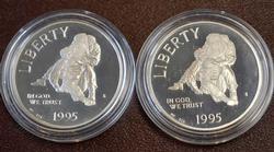 2 1995 $ Silver Commems CIVIL WAR  PROOF