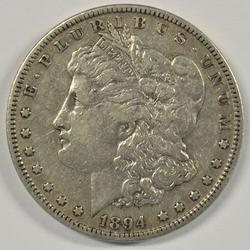 Ultra rare 1894-P Morgan Silver Dollar. XF/AU