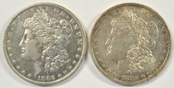2 Nice 1882-O/S Morgan Silver Dollars. Scarce