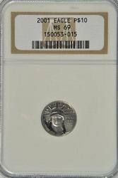 Super Rare Gem BU 2001 pure Platinum $10 Eagle NGC MS69